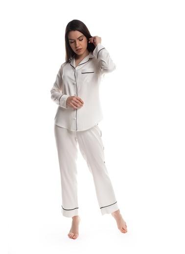 Pamuk & Pamuk Kadın Ekru Viskon Biyeli Önden Düğmeli Pijama Renkli